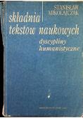 Składnia tekstów naukowych Dyscypliny humanistyczne