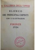 R Galleria Degli Uffizi Elenco Dei Principali Dipinti Con 72 Illustrazioni 1924 r.