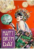 Karnet B6 z kopertą Urodziny Kobieta z wachlarzem