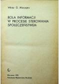 Rola informacji w procesie sterowania społeczeństwa