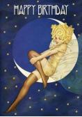 Karnet B6 brokat z kopertą Urodziny Księżyc