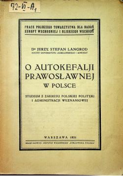 O autokefalji prawosławnej w Polsce 1931 r.