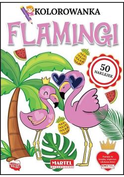 Kolorowanka z naklejkami Flamingi