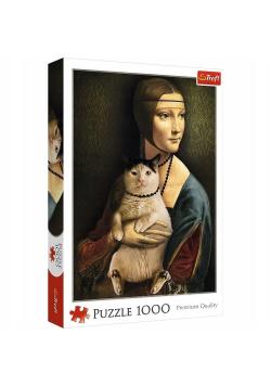 Puzzle 1000 Dama z kotem TREFL