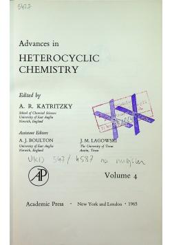 Advances in heterocyclic chemistry Volume 4