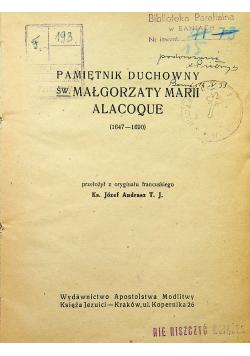 Pamiętnik Duchowy św Małgorzaty Marii Alacoque 1947 r