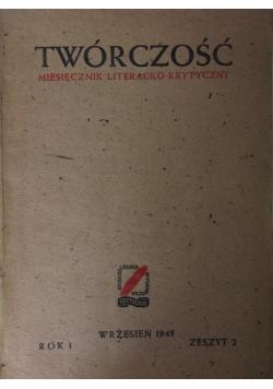 Twórczość  Miesięcznik literacko-krytyczny zeszyt 2 1945 r.