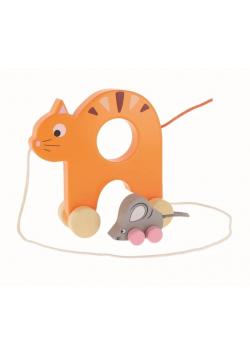 Zabawka drewniana - Kotek i Mysz na kółkach TREFL