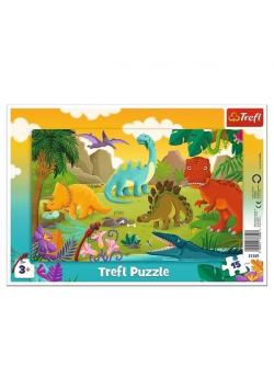 Puzzle ramkowe 15 Dinozaury TREFL