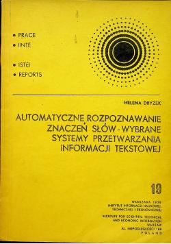 Automatyczne rozpoznawanie znaczeń słów Wybrane systemy przetwarzania informacji tekstowej