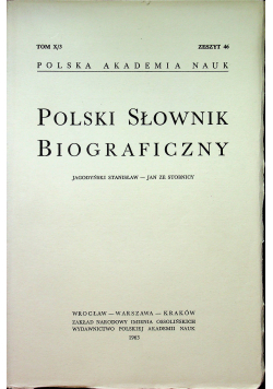 Polski Słownik Biograficzny tom X / 3