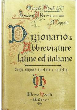 Dizionario Di Abbreviature Latine Ed Italiane 1929r