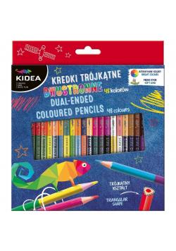 Kredki trójkątne dwustronne 48 kolorów KIDEA