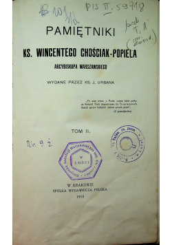 Pamiętniki Ks. Wincentego Chościak - Popiela Tom II 1915 r.