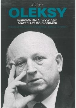 Józef Oleksy Wspomnienia wywiady materiały do biografii + Autograf Oleksy