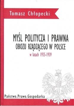 Myśl polityczna i prawna obozu rządzącego w Polsce w latach 1935 1939