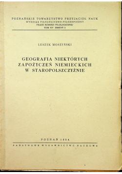 Geografia niektórych zapożyczeń niemieckich  w staropolszczyźnie