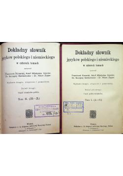 Dokładny słownik języków polskiego i niemieckiego w czterech tomach tom 1 i 2 około 1913r
