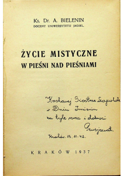 Życie mistyczne w pieśni nad pieśniami 1937r