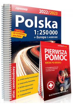 Polska atlas samochodowy + instrukcja pierwszej pomocy 1:250 000