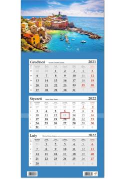 Kalendarz ścienny 2022 trójdzielny Morze i Miasto