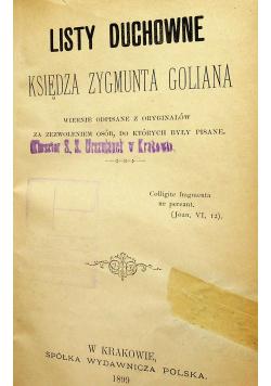 Listy duchowne księdza Zygmunta Goliana 1899r