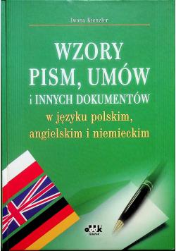 Wzory pism umów i innych dokumentów w języku polskim angielskim i niemieckim