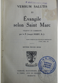 Verbum Salutis II Evangelie Saint Marc 1927 r.