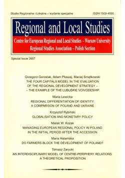 Studia Regionalne i Lokalne 2007 wydanie specjalne