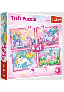 Puzzle 4w1 Jednorożce i magia TREFL