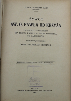 Żywot Św O Pawła od krzyża 1929 r.