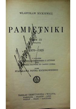 Mickiewicz Pamiętniki Tom III 1933 r.