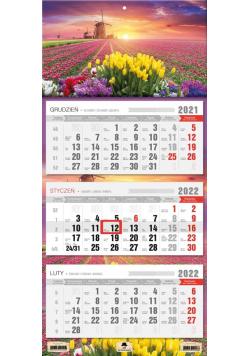 Kalendarz 2022 trójdzielny Tulipany