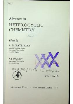 Advances in heterocyclic chemistry Volume 6