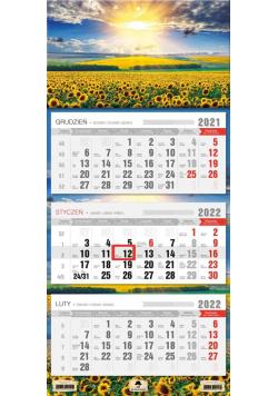 Kalendarz 2022 trójdzielny Słoneczniki