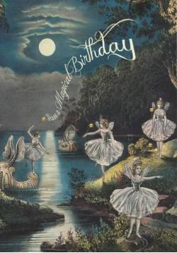 Karnet B6 brokat z kopertą Urodziny Wróżki