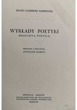 Praecepta poetica wykłady poetyki