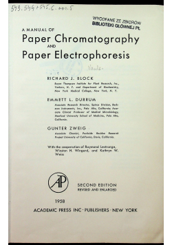 A manual of Paper Chromatography and Paper Electrophoresis