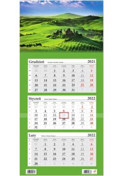 Kalendarz ścienny 2022 trójdzielny Wzgórza