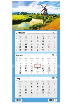Kalendarz ścienny 2022 trójdzielny LUX Wiatraki