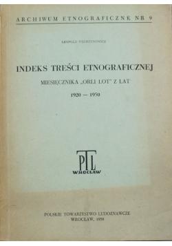 Indeks treści etnograficznej Archiwum Etnograficzne nr 9