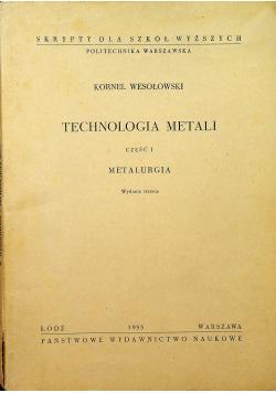Technologia Metali Cz I Metalurgia