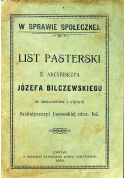 List Pasterski X Arcybiskupa Józefa Bilczewskiego 1908 r