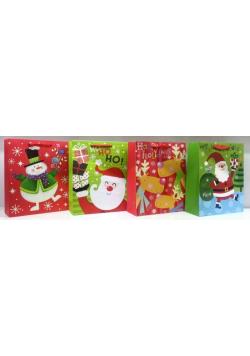 Torebka Świąteczna pionowa średnia Święty Mikołaj