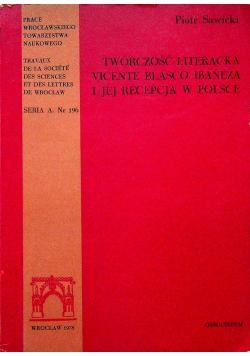 Twórczość literacka Vicente Blasco Ibaneza i jejrecepcja w Polsce