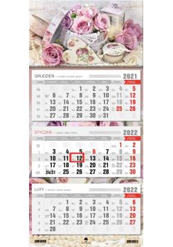 Kalendarz 2022 trójdzielny Róże
