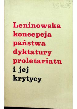 Leninowska koncepcja państwa dyktatury proletariatu i jej krytycy