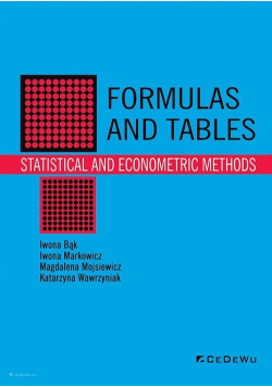 Formulas and tables Statistical and econometric methods