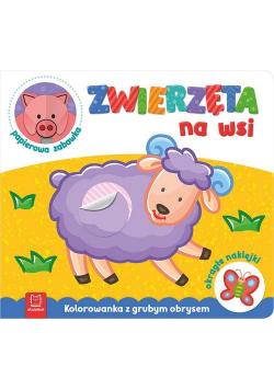 Zwierzęta na wsi Kolorowanka z grubym obrysem, okrągłe naklejki papierowa zabawka