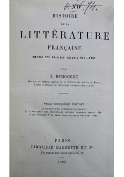 Histoire de la Litterature francaise 1895 r.